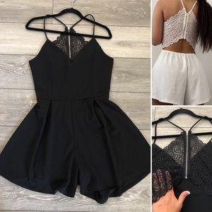 💖XL Black Romper. Open back lace zip up.